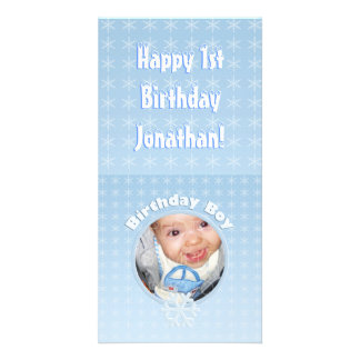 Birthday Boy Photo Winter Onederland Personalized Photo Card