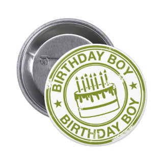 Birthday Boy -rubber stamp effect- green Pinback Buttons