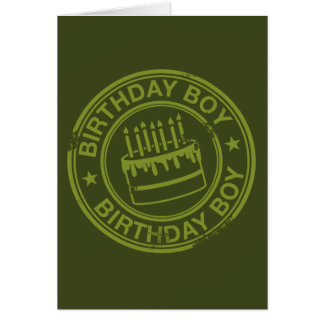 Birthday Boy -rubber stamp effect- green Greeting Card