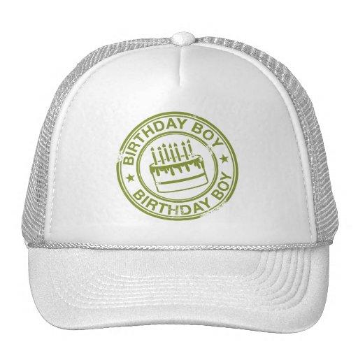 Birthday Boy -rubber stamp effect- green Mesh Hats