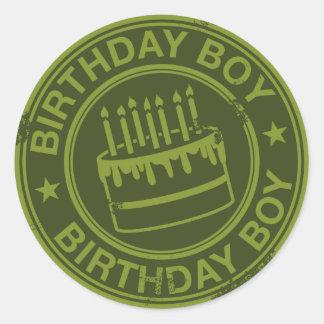Birthday Boy -rubber stamp effect- green Round Sticker