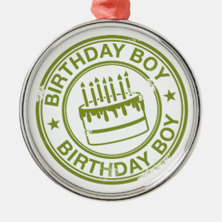 Birthday Boy -rubber stamp effect- green Silver-Colored Round Decoration
