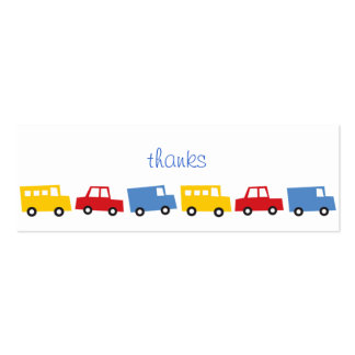 Birthday Boy Toys Colorful Cars Trains Bus Trucks Business Cards
