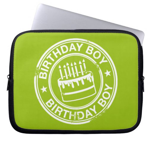 Birthday Boy -white rubber stamp effect- Laptop Sleeve