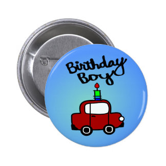 Birthday Boy With Candle And Red Car Buttons