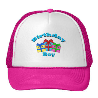 Birthday boy with presents trucker hat