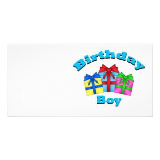 Birthday boy with presents customized photo card