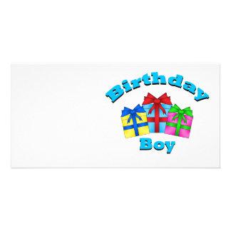 Birthday boy with presents photo card