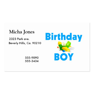Birthday Boy With Toy Airplane Pack Of Standard Business Cards