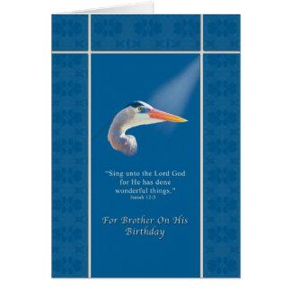 Birthday,  Brother, Religious, Great Blue Heron Bi Card