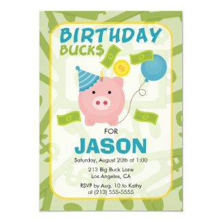 Birthday Bucks Piggy Bank Boy Party Invitation