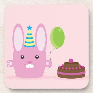 Birthday bunny drink coasters