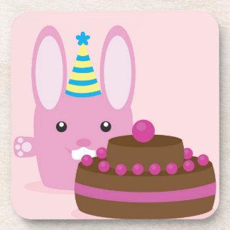 Birthday bunny beverage coasters