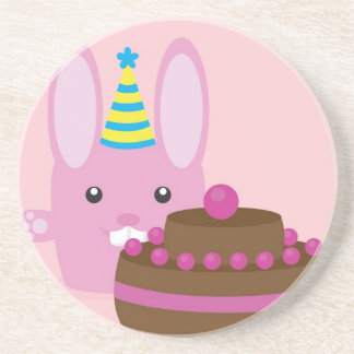 Birthday bunny drink coasters