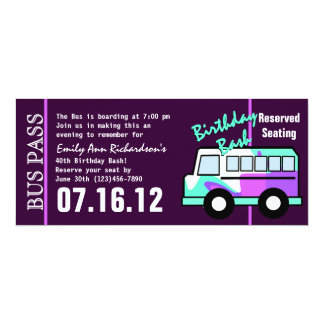 "Birthday Bus Pass 4"" X 9.25"" Invitation Card"