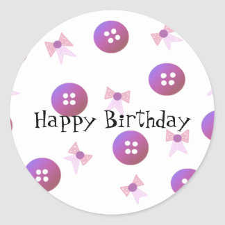 Birthday Buttons and Bows Classic Round Sticker