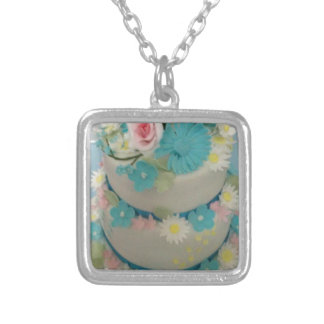 Birthday cake 1 silver plated necklace