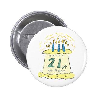 Birthday Cake 21st Birthday Gifts 6 Cm Round Badge