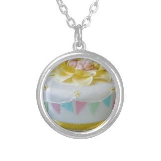 _birthday cake 2 silver plated necklace