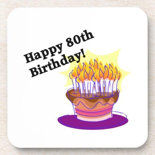 Birthday Cake 80th Beverage Coaster