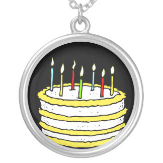 Birthday Cake and Candles Round Pendant Necklace