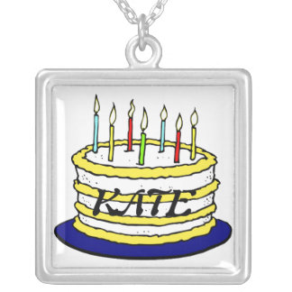 Birthday Cake and Candles Square Pendant Necklace