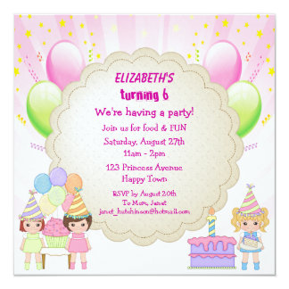 Birthday Cake & Balloons Girl's Party Invites
