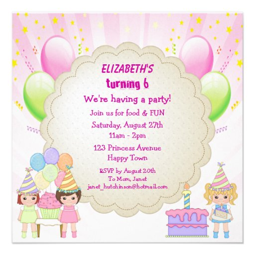 Birthday Cake & Balloons Girl's Party Invites
