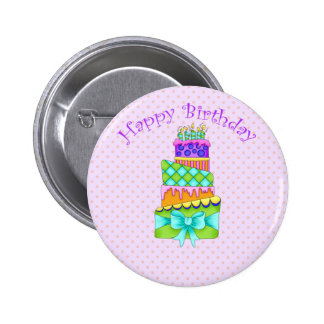 Birthday Cake Button - with Happy B Day Backgrou