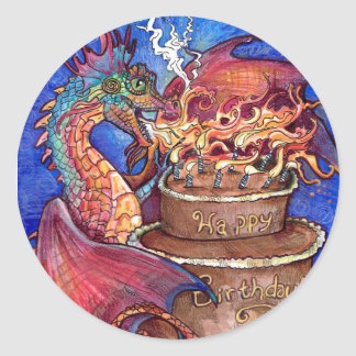 Birthday Cake Dragon Classic Round Sticker