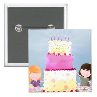 Birthday cake fun - pin badge button