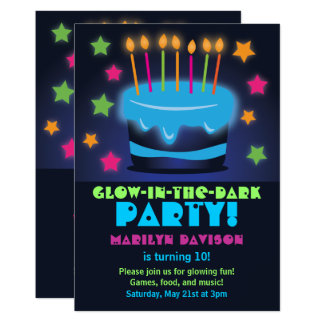 Birthday Cake Glow in the Dark Party Invitations