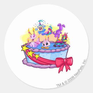 Birthday Cake Group Shot Round Sticker