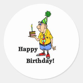 Birthday Cake -  Man Round Sticker