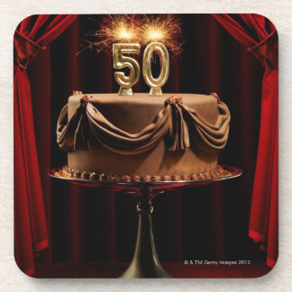 BIrthday Cake on Stage with number 50 candles Coasters