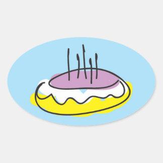 Birthday cake oval sticker