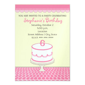 Birthday Cake Party - Pink With Pink Polka Dots Card