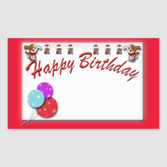 Birthday cake rectangular sticker