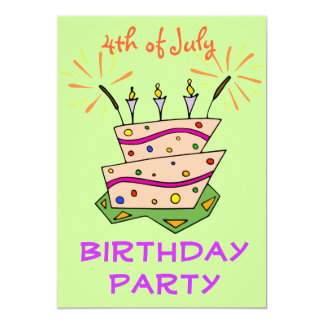 Birthday Cake Sparklers 4th of July Birthday Party 13 Cm X 18 Cm Invitation Card