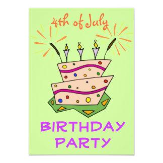 Birthday Cake Sparklers 4th of July Birthday Party 13 Cm X 18 Cm Invitation Card