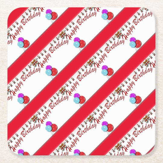 Birthday cake square paper coaster