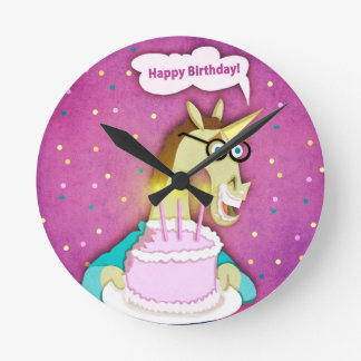 Birthday Cake Unicorn Wallclock