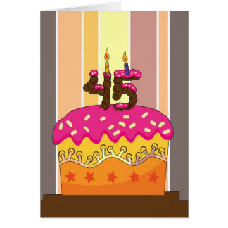 birthday - cake with candles 45 - 45th birthday gr card