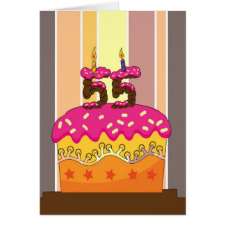 birthday - cake with candles 55 - 55th birthday gr card