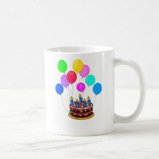 Birthday Cake with Candles & Balloons Coffee Mug