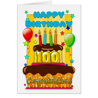 birthday cake with candles - happy 100th birthday card