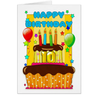 birthday cake with candles - happy 10th birthday greeting card