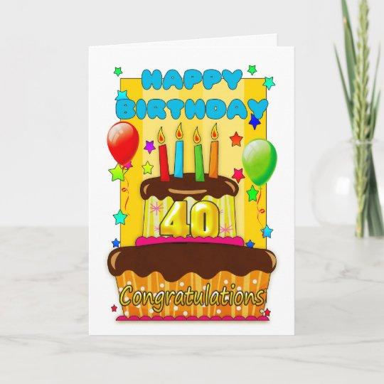 Birthday Cake With Candles Happy 40th Birthday Card Zazzle Com Au