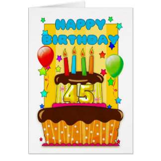 birthday cake with candles - happy 45th birthday card