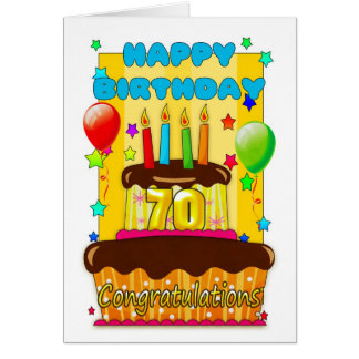 birthday cake with candles - happy 70th birthday card